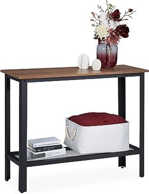 Relaxdays, Noir Console, Design Industriel, Structure métallique, élancée, Table Support entrée,80 x 101,5 x 35 cm, Brun, Acier, Panneau de Particules, 1 élément