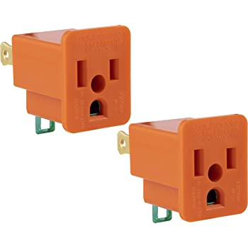 GE Polarized Grounding 2 Pack, Turn 2 3-Prong, Easy to Install, Indoor Only, UL Listed, Orange, 14404 outlet adapter