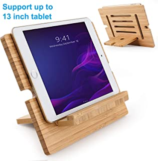 Bamboo Tablet Stand Adjustable, Pezin & Hulin Desktop Cell Phone Stand Holder Dock Compatible with Pad Pro 9.7, 10.5, 12.9, Air 2 3 4 Mini, Kindle, Phone 8 Plus X XS Max XR (Support to 13