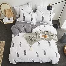 Duvet cover Four Piece Bed Style Bedding Set White Feathers Bed Set Luxury Cotton Bed Sheet King Size Duvet Cover Set Bed Linen (Color : Large, Size : 220 * 240cm)