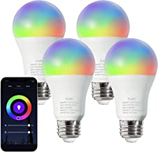 FLSNT Smart Light Bulbs, LED WiFi 2.4G RGBCW Color Changing Light Bulb, Works with Alexa, Google Home Assistant, 9 Watts(6...