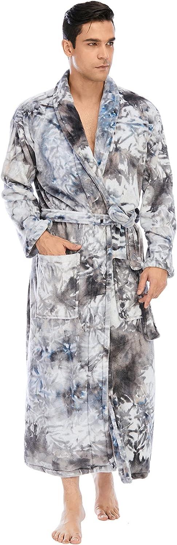 Men's Flannel Knitted Nightgown Long Sleeved Plus Fleece Bathrobe Loose Casual Home wear