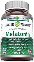 Amazing Formulas Melatonin for Relaxation and Sleep,(Non GMO-Gluten Free) 10 Mg, 250 Tablets - Natural Sleep Aid Supplemen...
