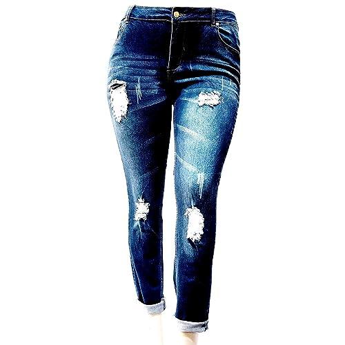 84713b91aeff9 Jack David Womens Plus Size Ripped Destroy Blue Denim Roll up Distressed Jeans  Pants