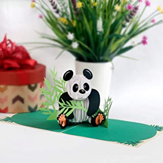 CUTPOPUP 3D Panda Paper Pop Up Greeting Card Cute Laser Cut Panda Animal Pop Out Card for Birthdays, Anniversaries, Mother's Day - Includes Envelope - Ideal Gift for Family, Friends, Colleagues