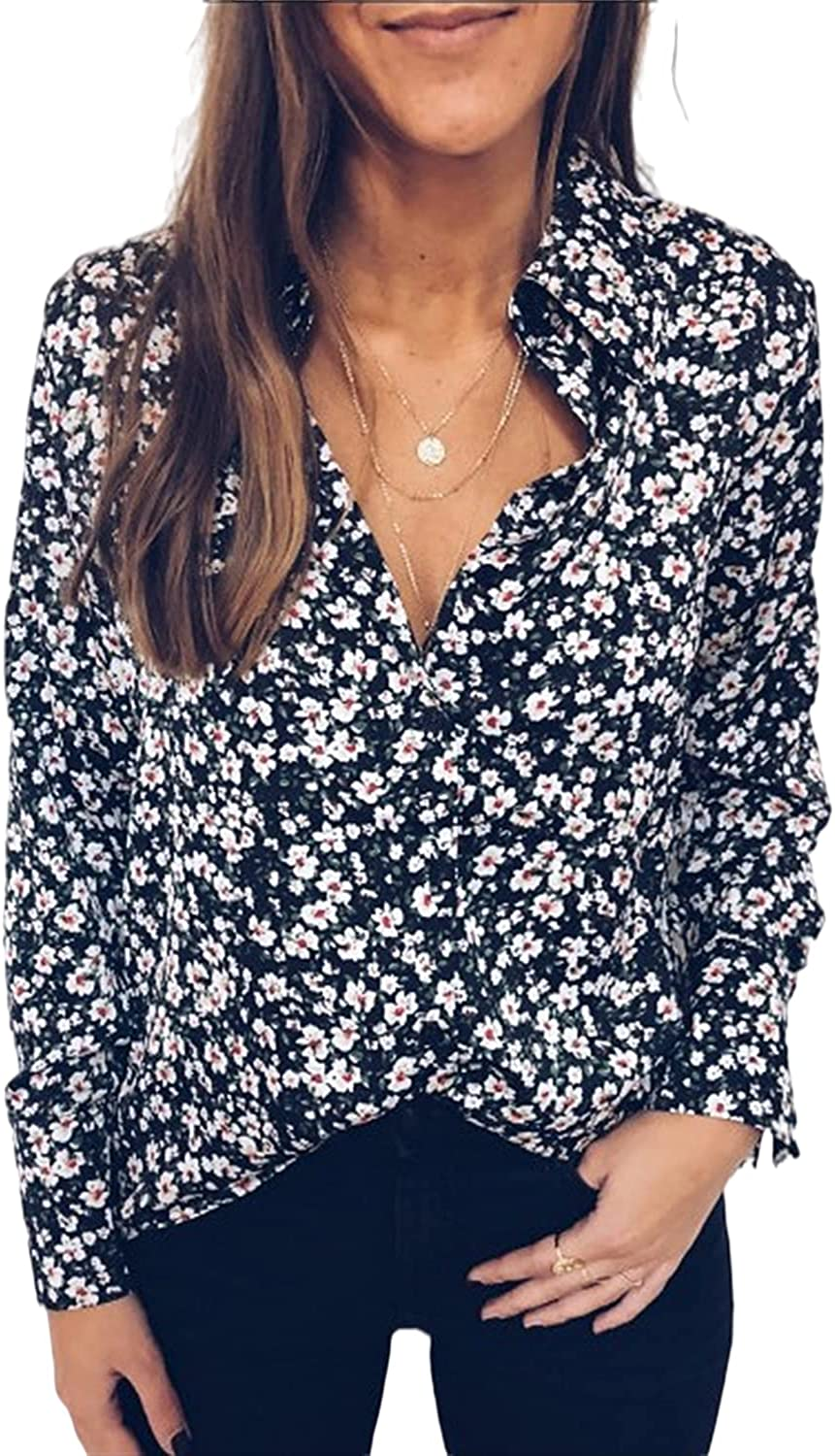 Guteidee Women's Fall Lace Crochet Eyelet V Neck Flowy Long Sleeve Shirts for Women Blouses Solid Casual Loose Tshirts Tops