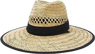 Jelord Sombrero de Paja Hombre Sombrero de Safari para Campo Decoración de Tela Limpresa con ala Ancha Anti-UV Sombrero de...