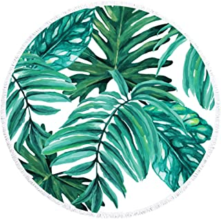 ModParty Round Beach Towel Tropical Microfiber Palm Leaves Light Weight Beach Blanket Bachelorette Party Favor Gifts