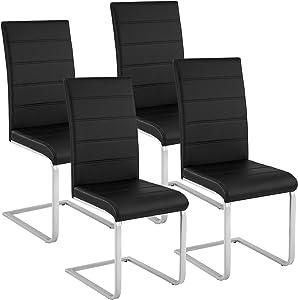 TecTake Lot de 4 Chaise de Salle à Manger Chaise Cantilever   diverses Couleurs et modèles au Choix - (4X Noir   No. 402553)
