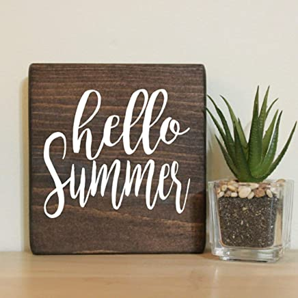 "Hello Summer Small Rustic Wooden Sign 5""X5"""