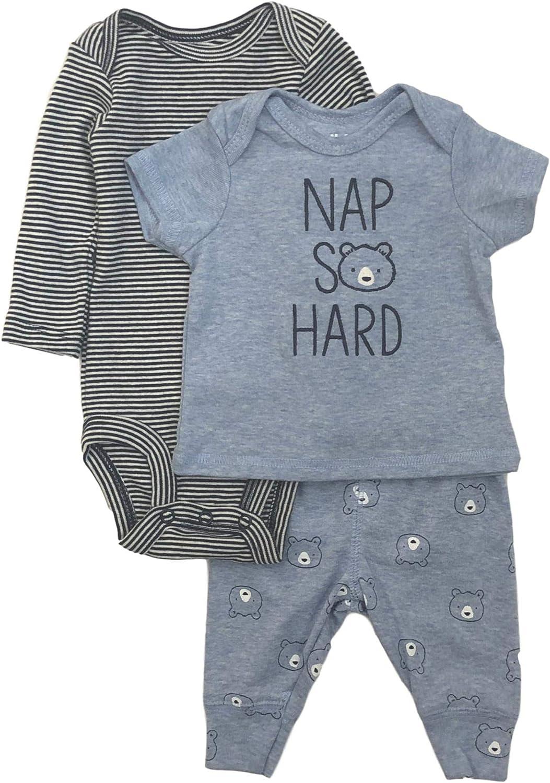 Carter's Infant Boys Nap So Hard Baby Outfit Bear Shirt Bodysuit & Joggers 0-3m Blue
