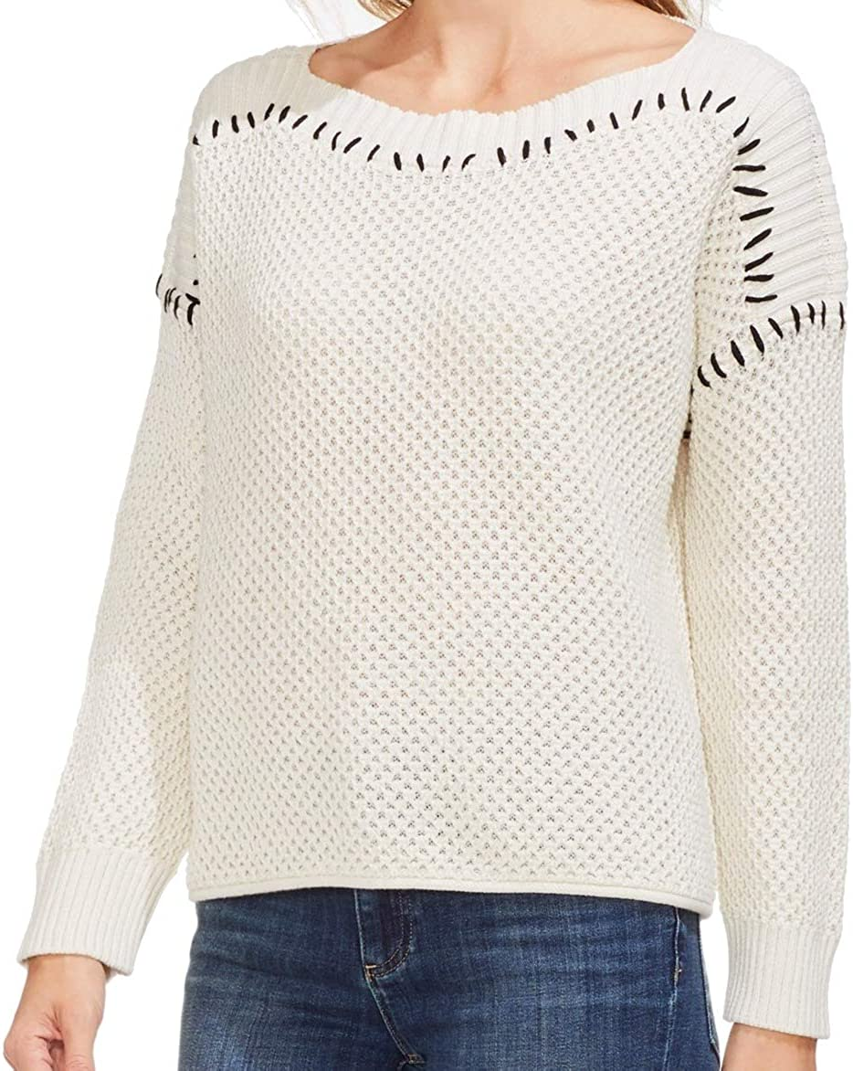 Vince Camuto Womens Contrast Stitching Pullover Sweater, Off-White, X-Large