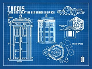 Inked and Screened SP_SYFI BG_24_W Sci-Fi and Fantasy Doctor Who-Tardis Print, Blue Grid-White Ink, 18