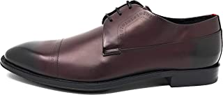 Men's Derby Allure Lace up Cap Toe Leather Oxford 13 Dark Red