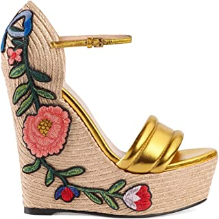 Gucci Women's Gold Leather Floral Embroidered Espadrille Wedges Shoes