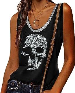 Canotta con Teschio con Strass per Donna T-Shirt Senza Maniche grafiche Magliette Senza Maniche Larghe Punk Rock