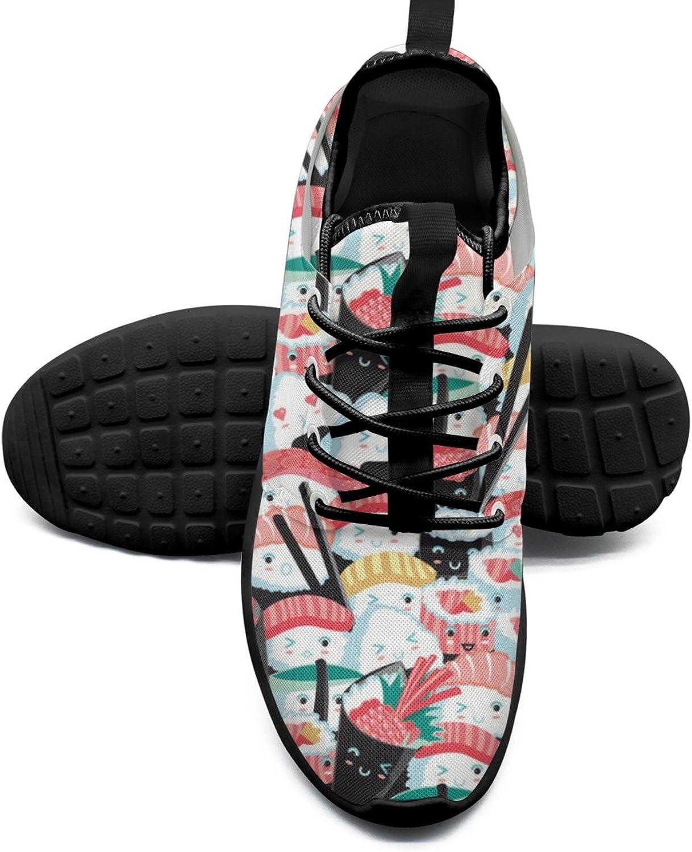 Women's Fashion Lightweight Basketball Sneakers Kawaii Sushi Crowd Japanese Food Rice Fish Cotton Fabric Print Running shoes