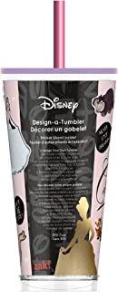 Zak Designs Design-A-Tumbler Disney Princess Cinderella Kids DIY Sticker Tumbler with Straw and Double-Wall Insulation, BP...