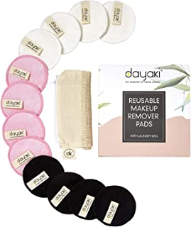 Reusable Makeup Remover Pads - Eco Friendly Zero Waste Organic Bamboo Rounds for Eye, Face with Mesh Laundry Bag, Wipes Face Clean from Make up, 12 Pack Two-Sided, Washable, Dayaki for All Skin Types