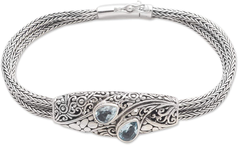 Novica Two Pears Blue Max 63% OFF Topaz Womens Girls For Bracelet Quality inspection Pendant