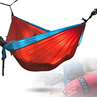 Serac [Premium Double Hammock & Strap Bundle] Sequoia XL Portable Double Camping Hammock with Ripstop Nylon and Quick-Hang Suspension System