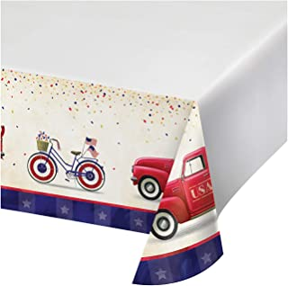 """Creative Converting Patriotic Parade Paper Tablecloth, 54"""" x 102"""", Red, White and Blue"""