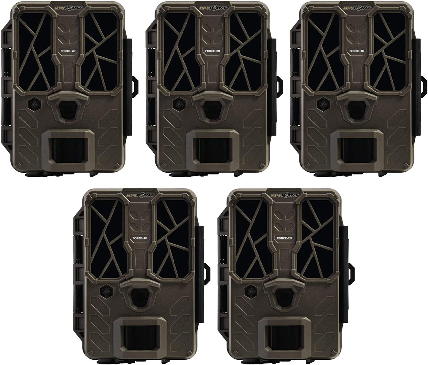 SPYPOINT FORCE-20 20MP Low Glow Infrared HD Video Hunting Trail Camera (5 Pack)