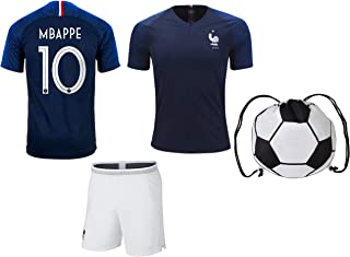 Mbappe France #10 Youth Soccer Jersey Home Short Sleeve Kit Shorts Kids Gift Set