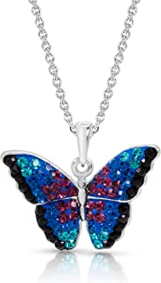 BLING BIJOUX Crystal Monarch Butterfly Pendant Necklace Never Rust 925 Sterling Silver Natural and Hypoallergenic Chain Fo...