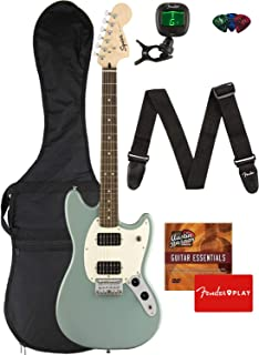 Fender Squier Bullet Mustang HH, Laurel Fingerboard, Sonic Grey Bundle with Gig Bag, Tuner, Strap, Picks, Fender Play Online Lessons, and Austin Bazaar Instructional DVD