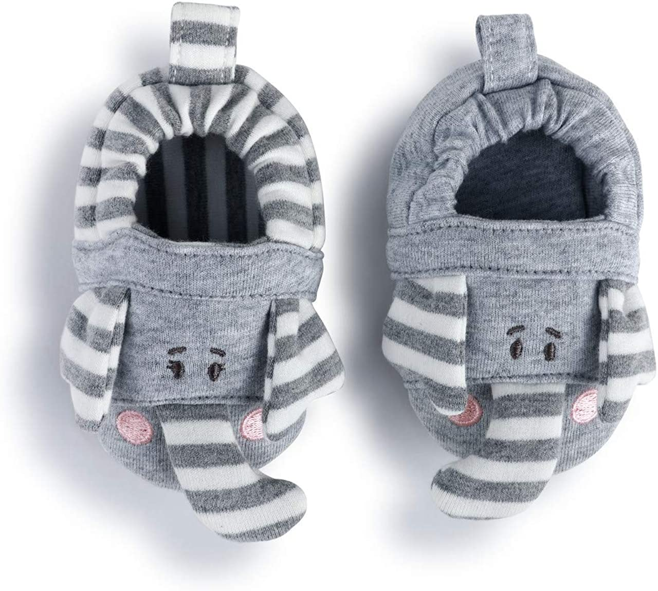 Elephant Grey Stripe 6-9 Months Cotton and Polyester Infant Bootie Socks