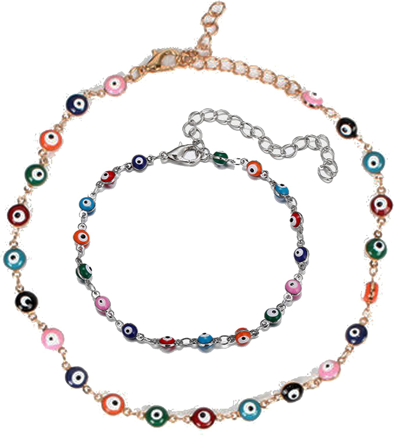 2 Pcs Boho Evil Eyes Choker Necklace Bracelet Set Colorful Beaded Clavicle Chain Necklaces Summer Beach Party Jewelry Adjustable Accessories for Women Girls