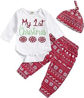 T TALENTBABY Neugeborenen Kleinkind Jungen Mädchen 3 Stücke My First Christmas Santa Kleidung Set Weihnachten Pyjamas Print Briefe Strampler Tops  Pants  Hut Outfits