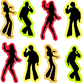 Amazon Com 12 Pieces Retro 70s Silhouettes Dance Silhouettes Cutouts Disco Silhouette 80 S Vintage Party Supplies Wall Stickers For 70s 80s Theme Party Toys Games
