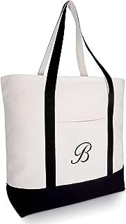 DALIX Personalized Tote Bag Monogram Black Initial