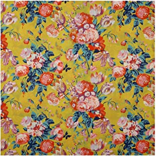 Yellow & Multicolor Floral 'Magical Bouquet' Liberty Lawn Cotton Handkerchief