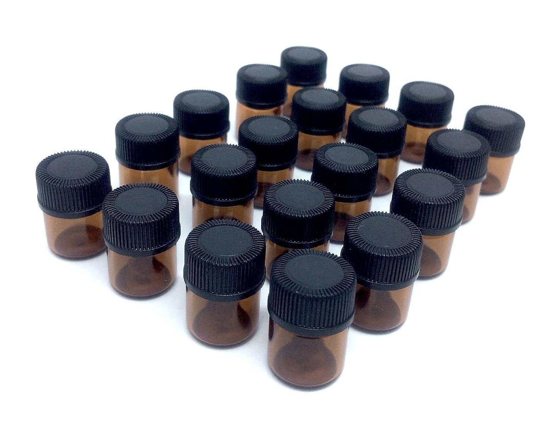 模索日付付きブリリアントアロマオイル 遮光瓶 精油 小分け用 ガラス製 保存容器 20本 セット (1ml)