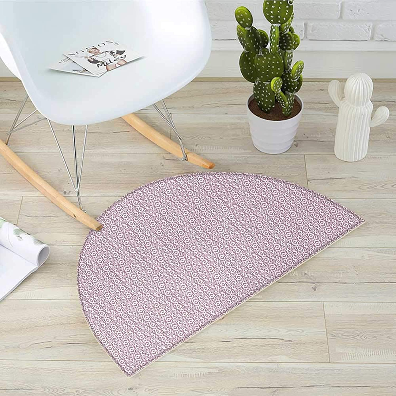 Geometric Half Round Door mats Six Pointed Star Motif with Hexagon Illustration Timeless Oriental Motifs Bathroom Mat H 35.4  xD 53.1  Dried pink White
