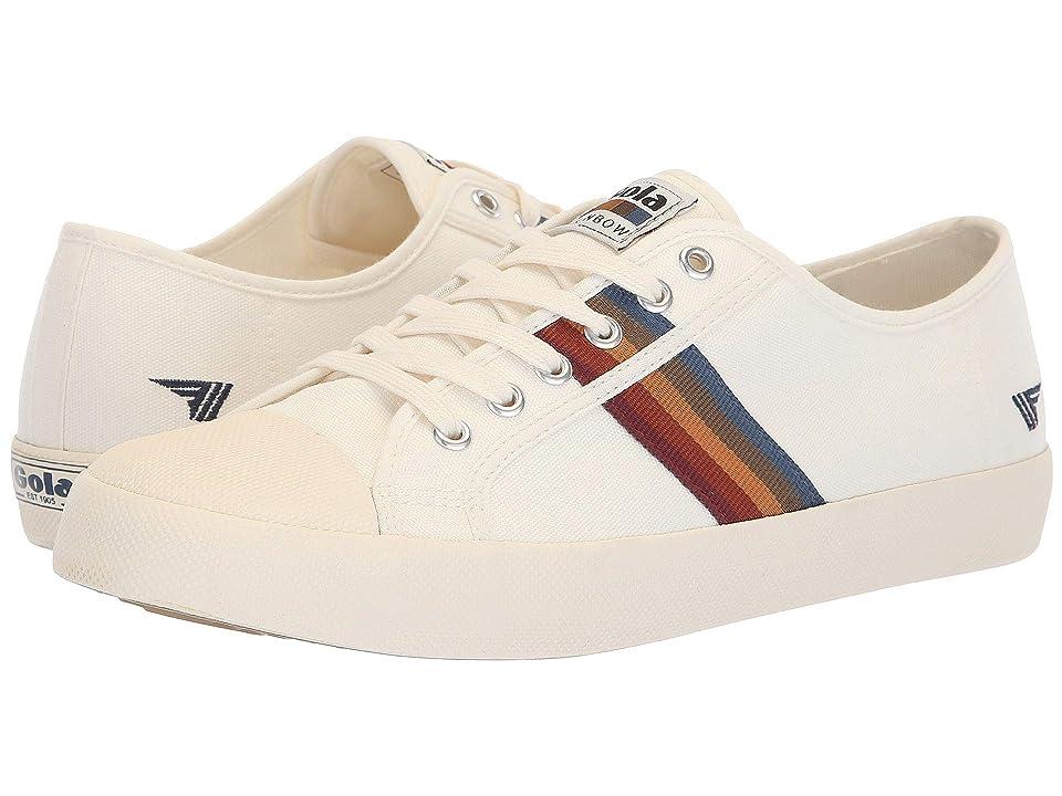 Retro Vintage Flats and Low Heel Shoes Gola Coaster Spectrum Off-WhiteMulti Mens Shoes $65.00 AT vintagedancer.com