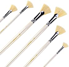 Amagic Fan Brush Set- Artist Soft Anti-Shedding Hog Bristle Paint Brushes for Acrylic Watercolor Oil Painting,Long Wood Handle with Storage Box, Set of 6
