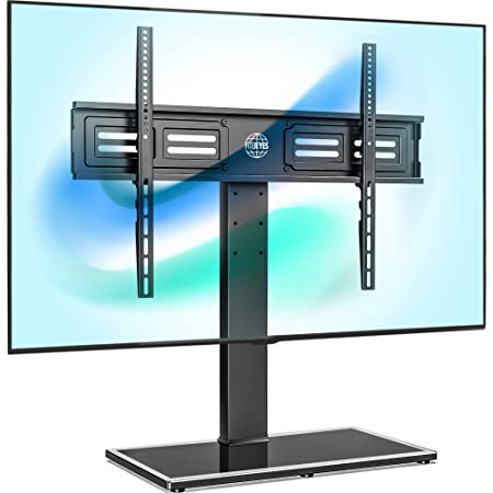 Amazon Com Fitueyes Universal Tv Stand Base Swivel Tabletop Tv Stand With Mount For 50 To 85 Inch Flat Screen Tv 100 Degree Swivel 4 Level Height Adjustable Tempered Glass Base Holds Up To 143 Lbs
