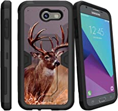 Compatible with Samsung Galaxy J3 Emerge | J3 Prime | J3 Eclipse | Galaxy Luna Pro[MAX Defense]- Hard Sleek Shell| Silicone Bumper with Kickstand and Holster by Miniturtle - Majestic Deer