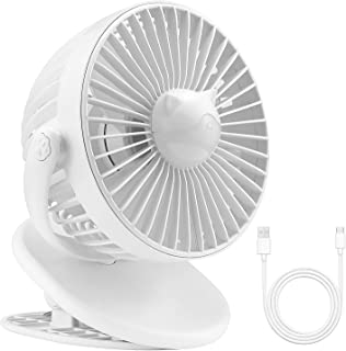 Sunnila 扇風機 卓上 USB扇風機 クリップ式 風量3段階調節 静音 小型 強力 大風量 長時間連続使用 360度角度調整 LED照明機能付き 熱中症対策 日本語取扱説明書付 (ホワイト)