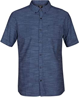 Hurley Men's One and Only Textured Short Sleeve Button Up, obsidian, L