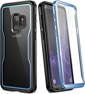 YOUMAKER Crystal Clear Case for Galaxy S9 5.8 inch, Full Body with Built-in Screen Protector Heavy Duty Protection Slim Fit Shockproof Rugged Cover for Samsung Galaxy S9 5.8 inch (2018) - Blue