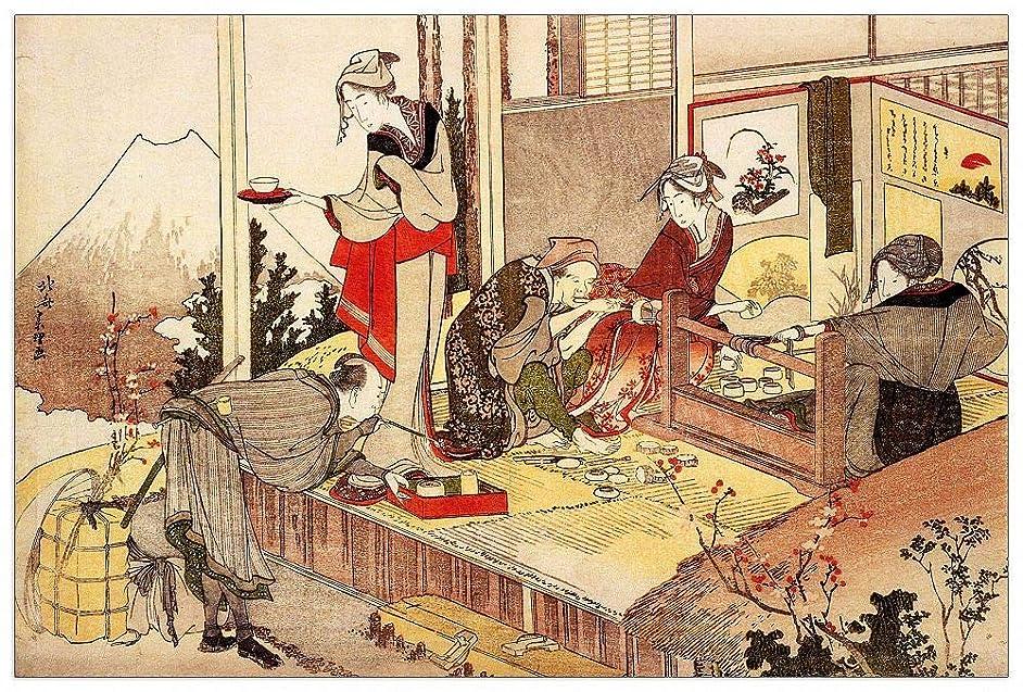 ArtPlaza TW90161 Hokusai Katsushika-The Studio of Netsuke Decorative Panel, 39.5x27.5 Inch, Multicolored