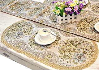 BLUETOP Classic Placemats, Luxury Elegant Embroidery European Style Tassel Dining Manual Placemats Sequined Lace Hotel Coffee Dining Table Mats Green, 25