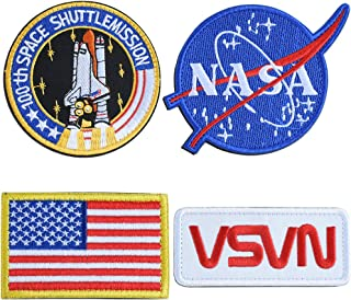 NASA Tactical Flag Patch, US Flag Patch Combination, USA NASA Patch Embroidered Morale Lot Military Embroidered Patches (4 Pcs)