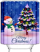 Epinki Polyester Shower Curtain Decorative Bathroom Accessories Blue White Snowman Christmas Tree Bathroom Curtain with 12...
