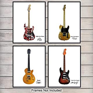 80' Music Rock Star Guitars Wall Art Print Poster Set - Unique Home Decor or Gift for Eddie Van Halen, Slash, Stevie Ray Vaughan, Bruce Springsteen Fans, Guitarists or Musicians, 8x10 Photos Unframed